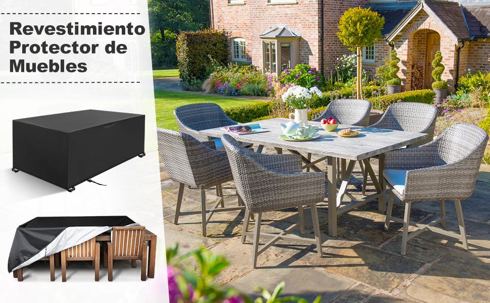 YISSVIC Cubierta de Muebles de Jardín Fundas de Muebles Impermeable Resistente al Polvo Anti-UV Protección Exterior Muebles de Jardín Cubiertas de Mesa y Silla Negro 213x132x74cm: Amazon.es: Jardín