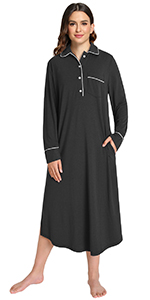 women bamboo cotton blend long sleeves nightgown midi nightdress