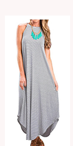 sleeveless dress striped long maxi dress loose fitting summer dress halter dress strappy dress