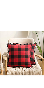 buffalo check pillow covers red