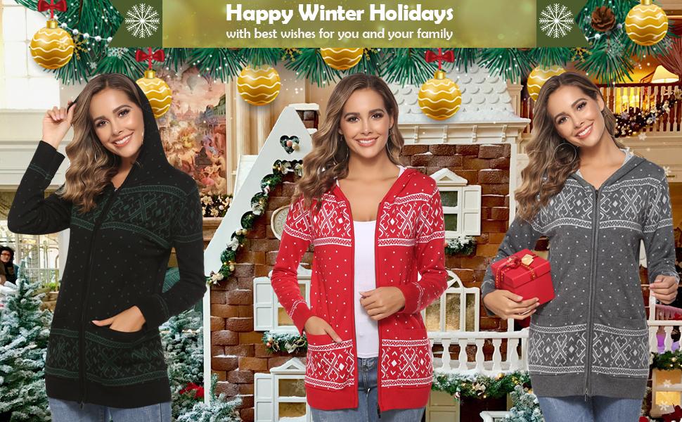 Aibrou Mujer C/árdigan de Punto Navidad Elegante,Corto Chaqueta con Botones Jerseys V Cuello Sueter Mangas Largas Linda y Moda