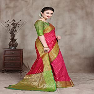 wedding Pure Banarasi Silk Kanjivaram Art Silk Booti Jacquard Sarees for women With Blouse Piece