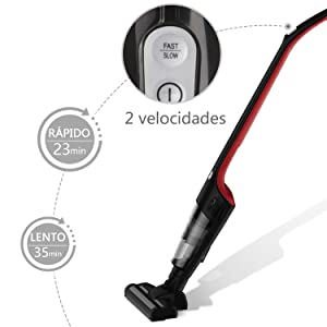 Aigostar Wand 33IWU - Aspirador vertical ciclónico inalámbrico 2 en 1. Batería recargable 2200mAh, apto para succionar líquidos, silencioso, capacidad 0.4L, 2 cepillos incluídos. Diseño exclusivo: Amazon.es: Hogar