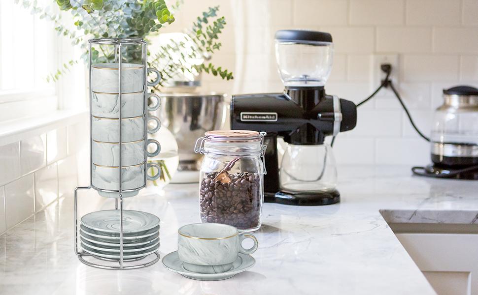 Coffee mug in table