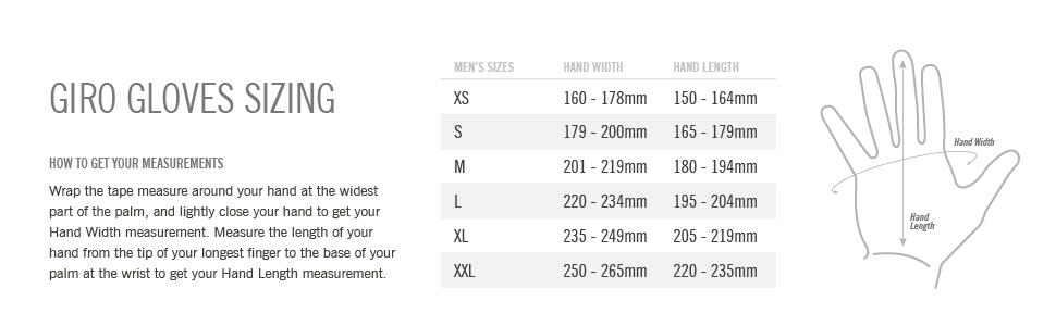 mens gloves size chart