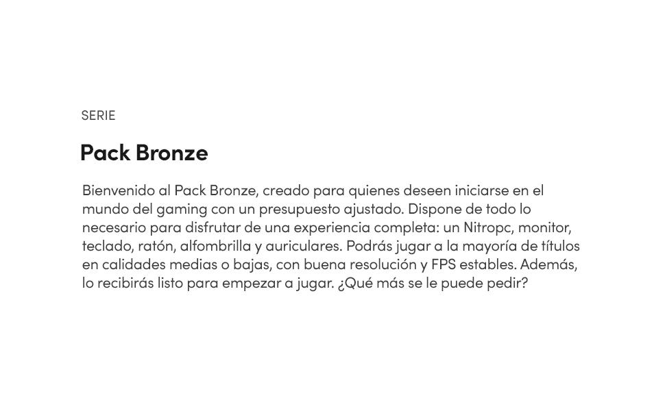 descripción pack bronze