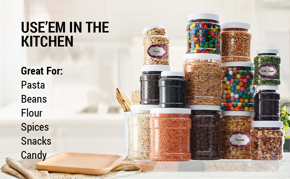 Use'em in the kitchen. Great for: Pasts, Beans, Flour, Spices, Snacks, Candy
