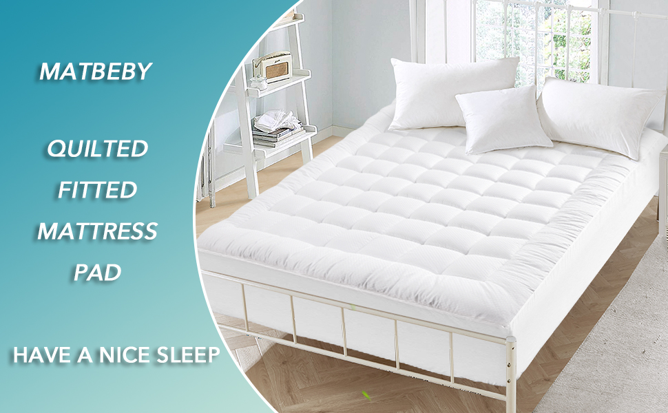 Queen Size Mattress Pad, Bedding Quilted Fitted Stretches Mattress pad Topper , Mattress Protector