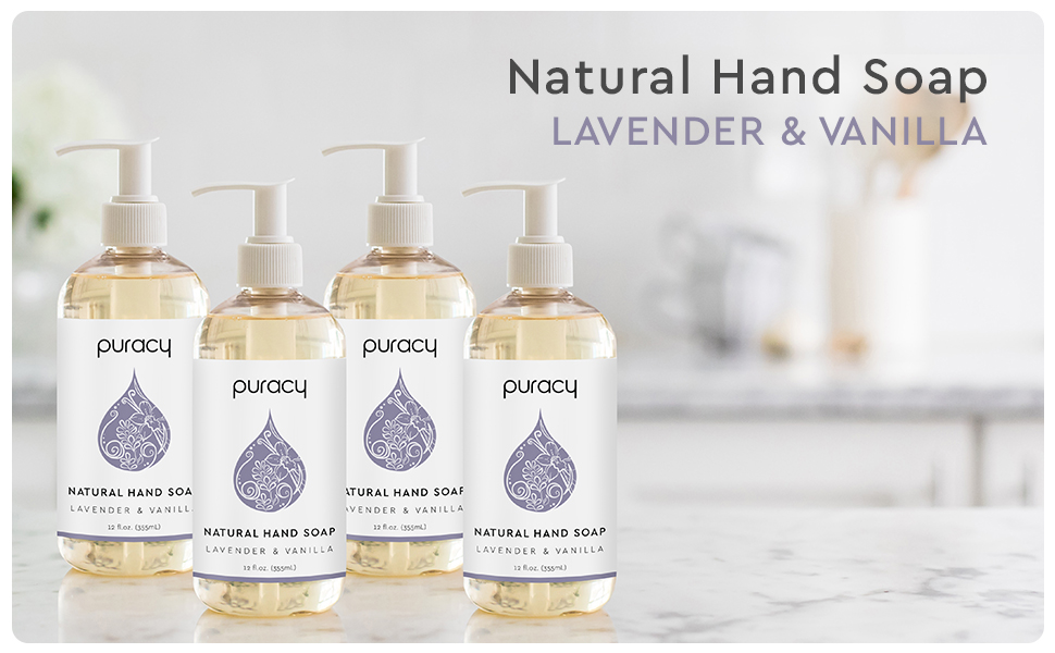 Puracy Natural Liquid Hand Soap - Lavender & Vanilla 4-Pack