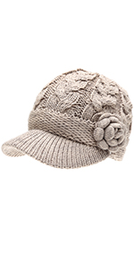 MIRMARU Women's Knitted Newsboy Hat Double Layer Visor Beanie Cap with Soft Warm Fleece Lining