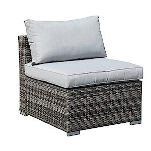 Patiorama 6 Pieces Patio Sectional, Outdoor Patio Furniture Sets Rattan Sofa Wicker Furniture Set