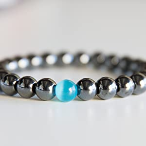 lokai rope beads sterling panther titanium copper bangle men elastic obsidian protection blue steel