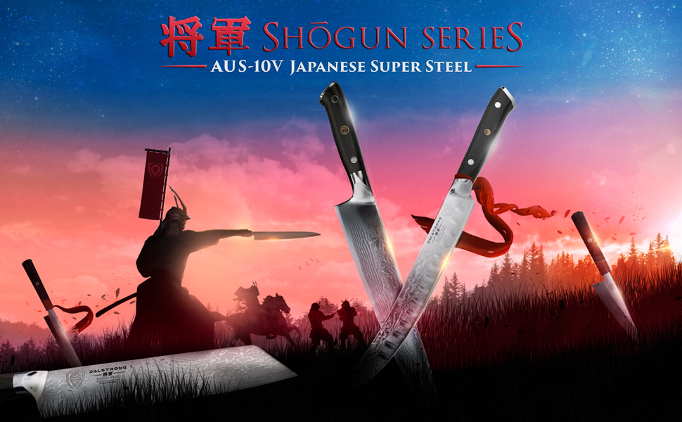 shogun series dalstrong japanese steel aus-10v 62+ rockwell g-10 handle stainless steel high carbon
