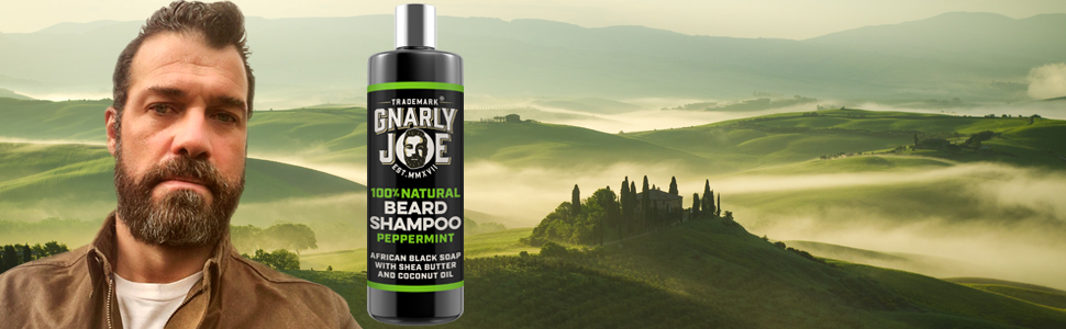 Gnarly Joe Peppermint Beard Wash with natural Ingredients, African Black Soap Beard Shampoo