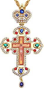 Religious Jesu Crucifix Jeweled Necklace