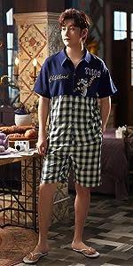ペアパジャマ カップル 夏 ペアパジャマ カップル 綿 ルームウェア パジャマ ワンピース パジャマ ワンピース レディース パジャマ ワンピース 綿
