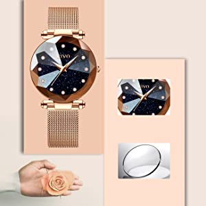 Orologi donna eleganti orologi analogici impermeabili in oro rosa da donna cielo stellato