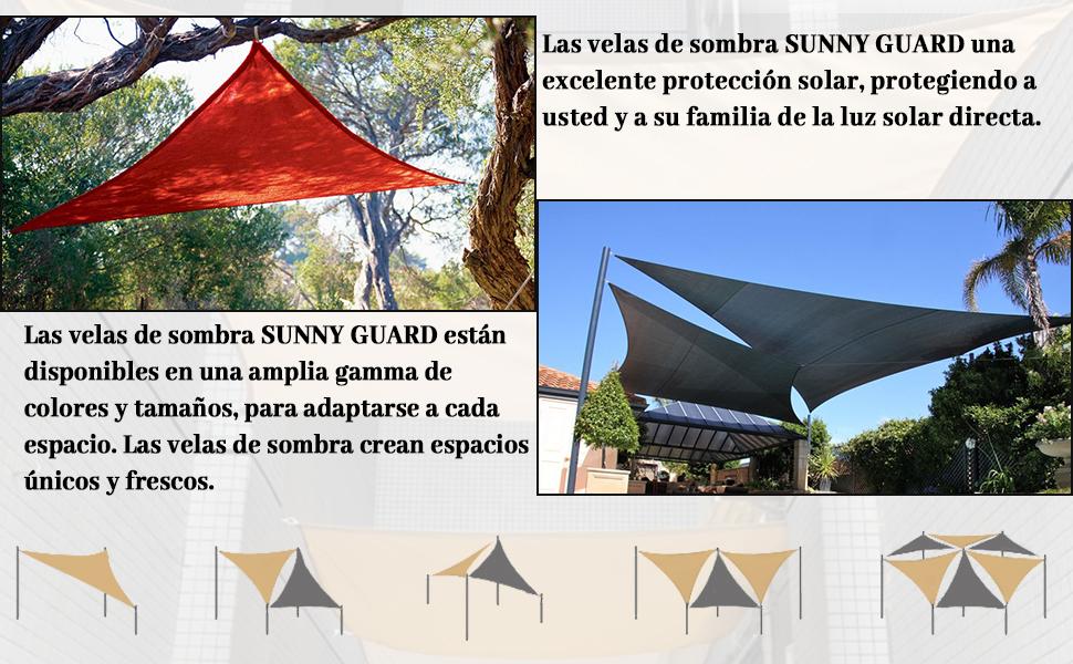 SUNNY GUARD Toldo Vela de Sombra Rectangular 2x2m Impermeable a Prueba de Viento protección UV para Patio, Exteriores, Jardín, Color Antracita