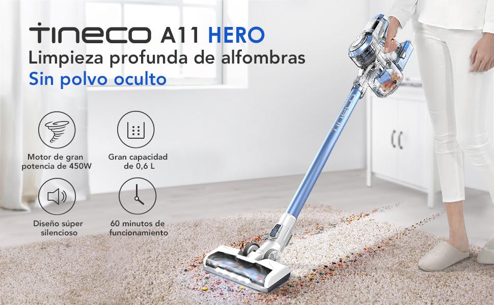Aspiradora sin cable de mano escoba Tineco A11 Hero con motor ...
