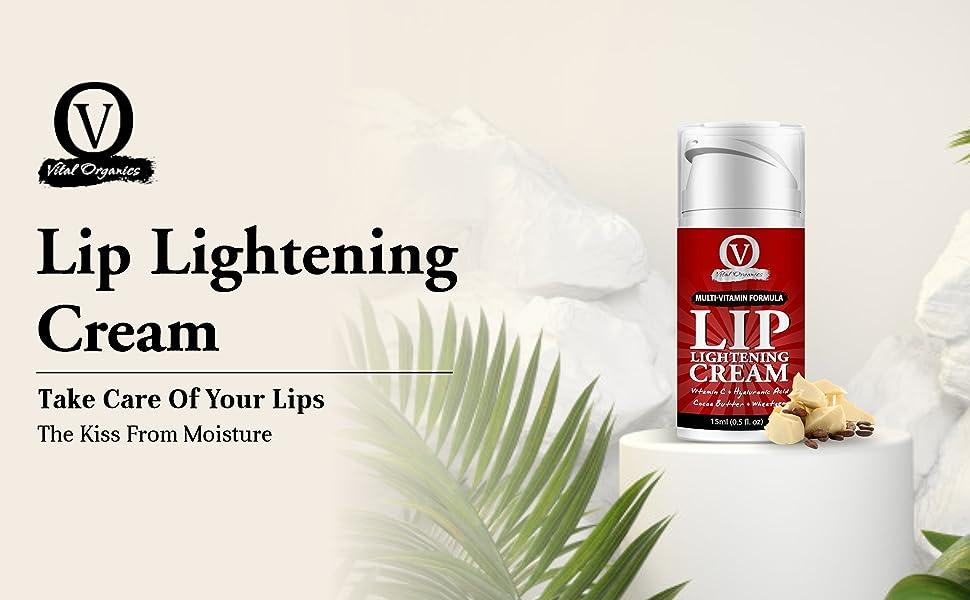 Vital Organics Lip Lightening Cream For Dark Lips Men Women Vitamin C Hyaluronic Licorice SPN-FOR1