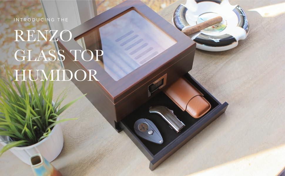 renzo glass top humidor cigar storage accessory drawer hydro system box glass top cigar wood box
