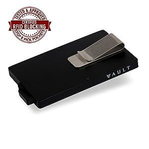 money clip credit card wallet holder rfid protection mens womans aluminium metal akielo powr stealth