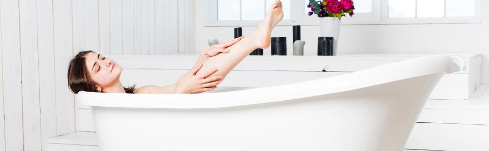 Basenbad mit weißer Mineralerde für basische Hautpflege udn basische Bäder