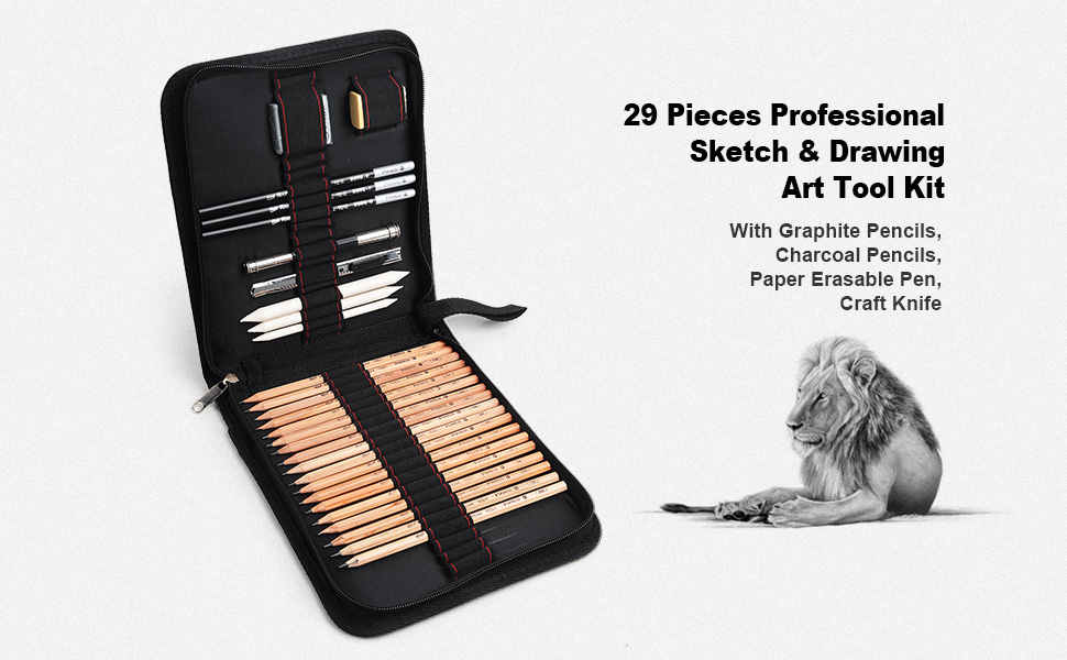 29 pcs//set Sketching Drawing Style Tool Kit With Pencils Charcoal Pen S Y6V6