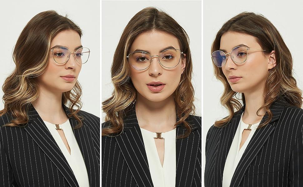 blue light glasses for women metal frames