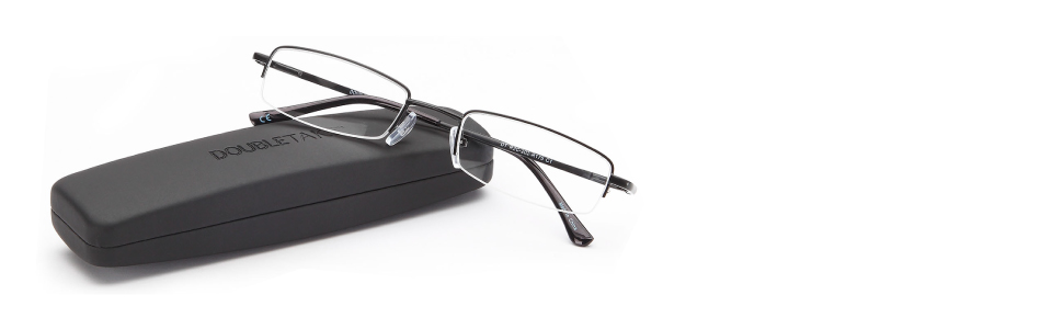 introducing double takes 2 pairs of slim half rimmed mini pocket readers with hard travel case