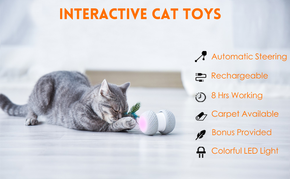 Interactive cat toys, automatic steering, USB rechargeable, carpet available, colorful LED light