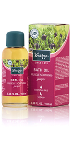 Juniper Bath Oil with essential oils for pain in muscles