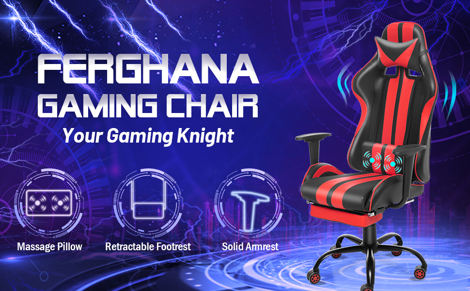 Video Gaming Chair PC Gaming Chair Computer Chair E-Sports Chair with Footrest Headrest Lumbar