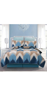 Chevron wave blue white taupe bedspread