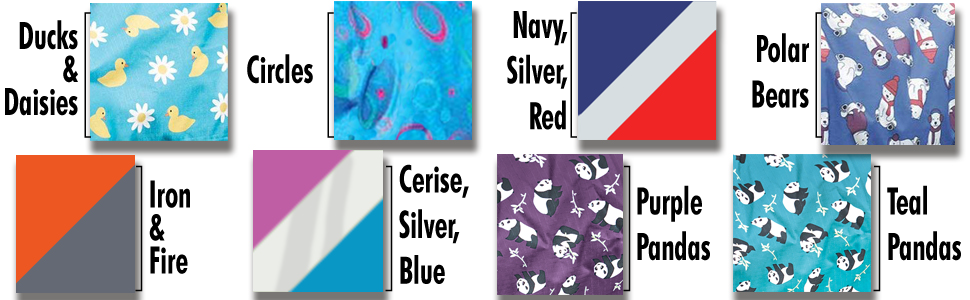Image of eight various available patterns of the blanket.