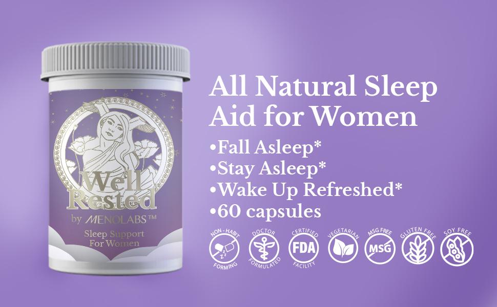 well rested, natural, sleep, melatonin, magnesium, gaba, women, health, aid, well, rested, menolabs