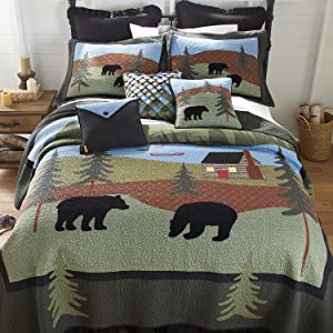 Donna Sharp, Bear Pattern, Lodge Style, Queen, Twin, King, Quilt
