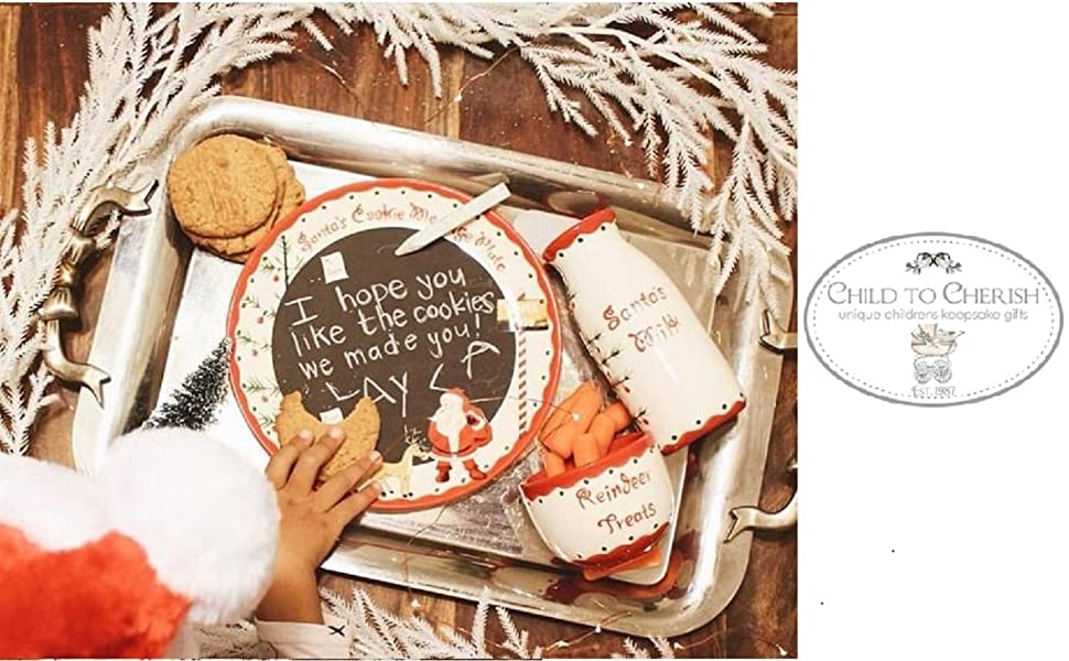Amazon Com Child To Cherish Santa S Message Plate Set Santa Cookie Plate Santa Milk Jar And Reindeer Treat Bowl Kitchen Dining