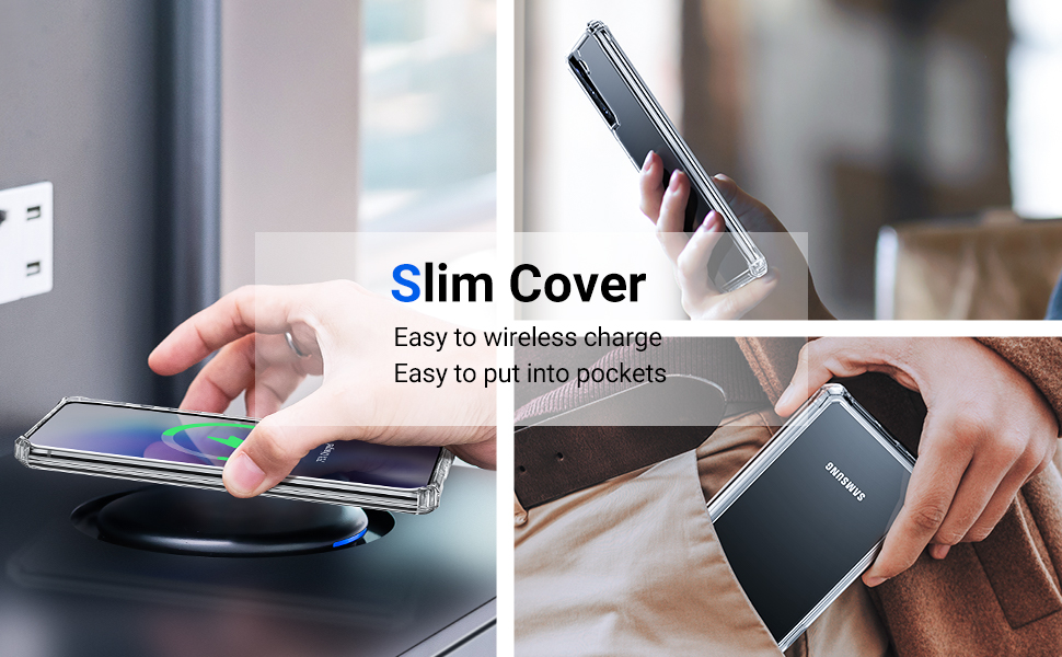 Slim cover, support wireless charger, Easy to put into pockets