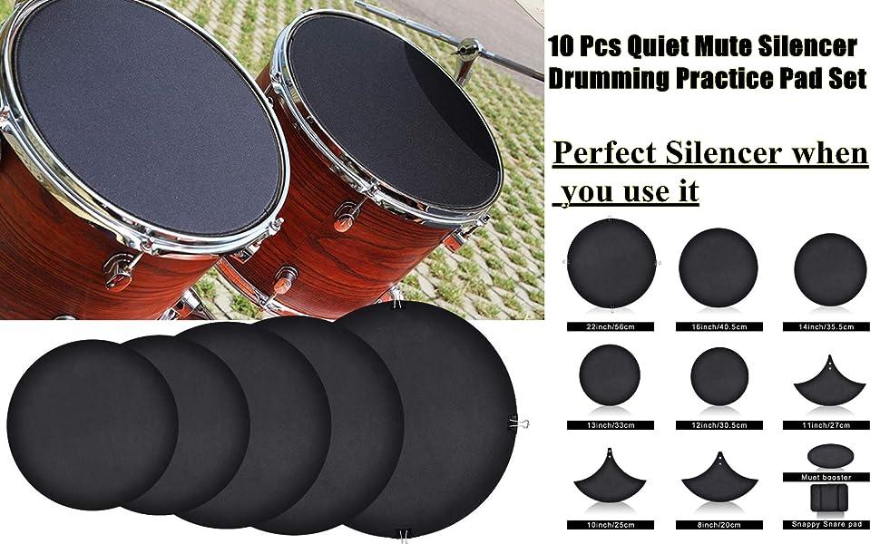 14-teiliges Gummi-Schaum-Bass-Snare-Drum Sound Off Quiet Mute Silencer-Übungspad