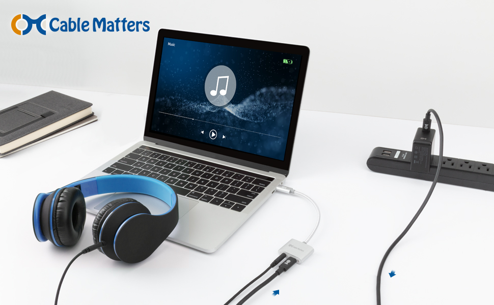 Cable Matters Premium Braided USB C Audio Adapter Sound Card with 3.5mm Headphone Mic Combo Jack and 60W Charging for Laptop and Smartphone