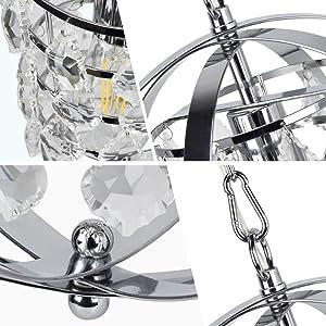 Metal Globe Hanging Ceiling Light Spherical Pendant for Foyer//Kitchen//Dining Room//Farmhouse//Bedroom Depuley Modern Orb Pendant Lighting Chrome 1 Light E26 Socket Crystal Chandelier Light Fixture
