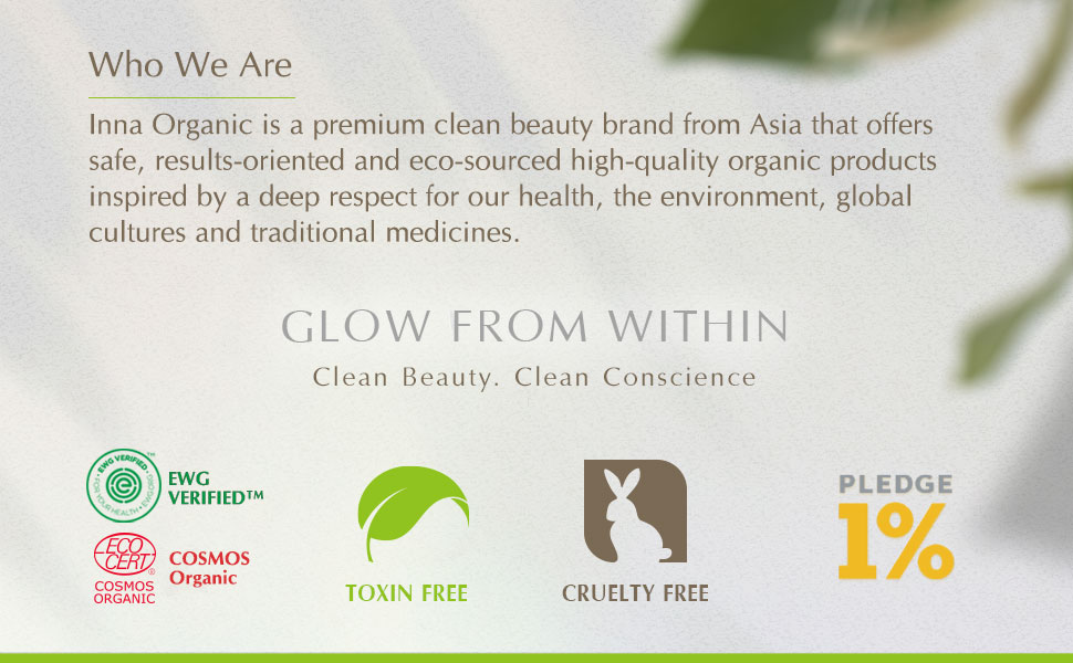 cruelty free toxin pledge 1% ewg cosmos Inna Organic clean beauty environmental friendly