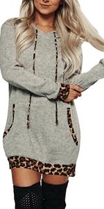 leopard hoodie dress