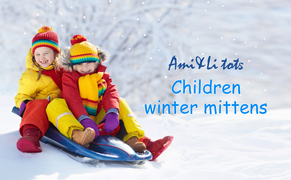 Ami/&Li tots 5 Fingers Waterproof Mittens for Toddler Girls Boys Winter Ski Warm Baby Gloves Kids Snow Gloves with Adjustable Cuffs