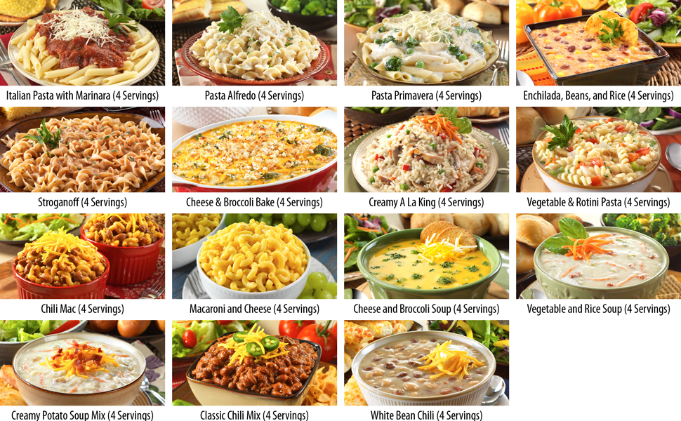 What's Included in the Legacy's 60 Serving  Lunch & Dinner Entree Food Storage Bucket