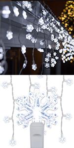 LED Snowflake Icicle Lights, Cool White