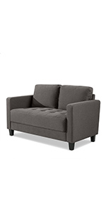 Zinus Modern 2 Seater Sofa Couch in Steel Grey