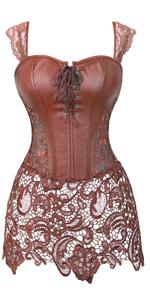 Faux Leather Corset Gothic Bustier Dress Lingerie Burlesque Sexy