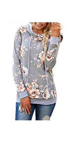 onlypuff Womens Floral Hoodie Sweatshirt Casual Tunic Tops